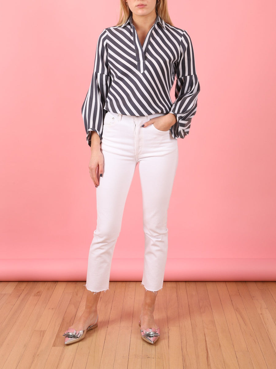 Heavy Stripe Allison Top in Navy