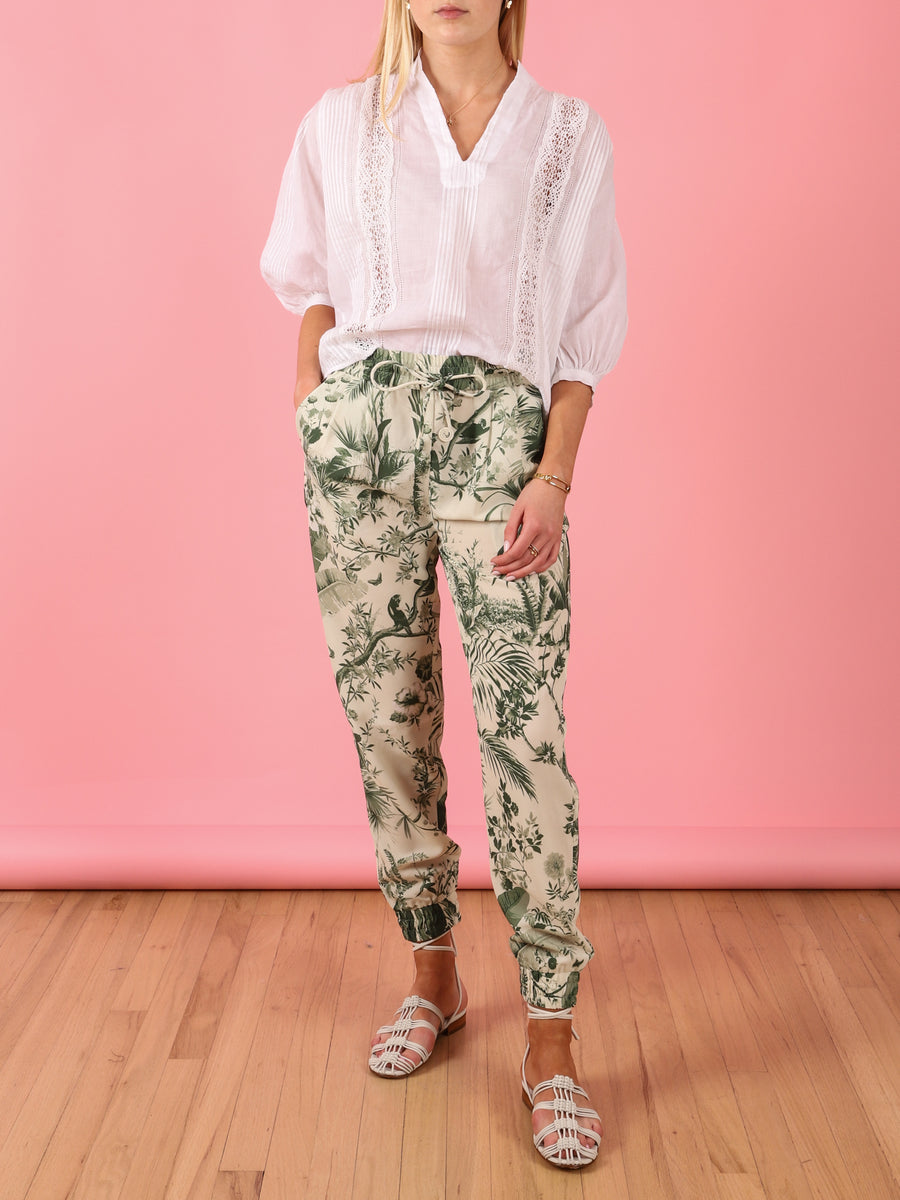 Printed Pant in Green