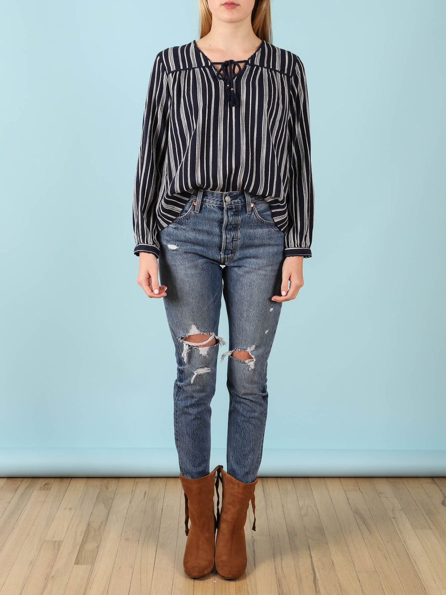 Marie V-Neck Blouse Navy Stripe