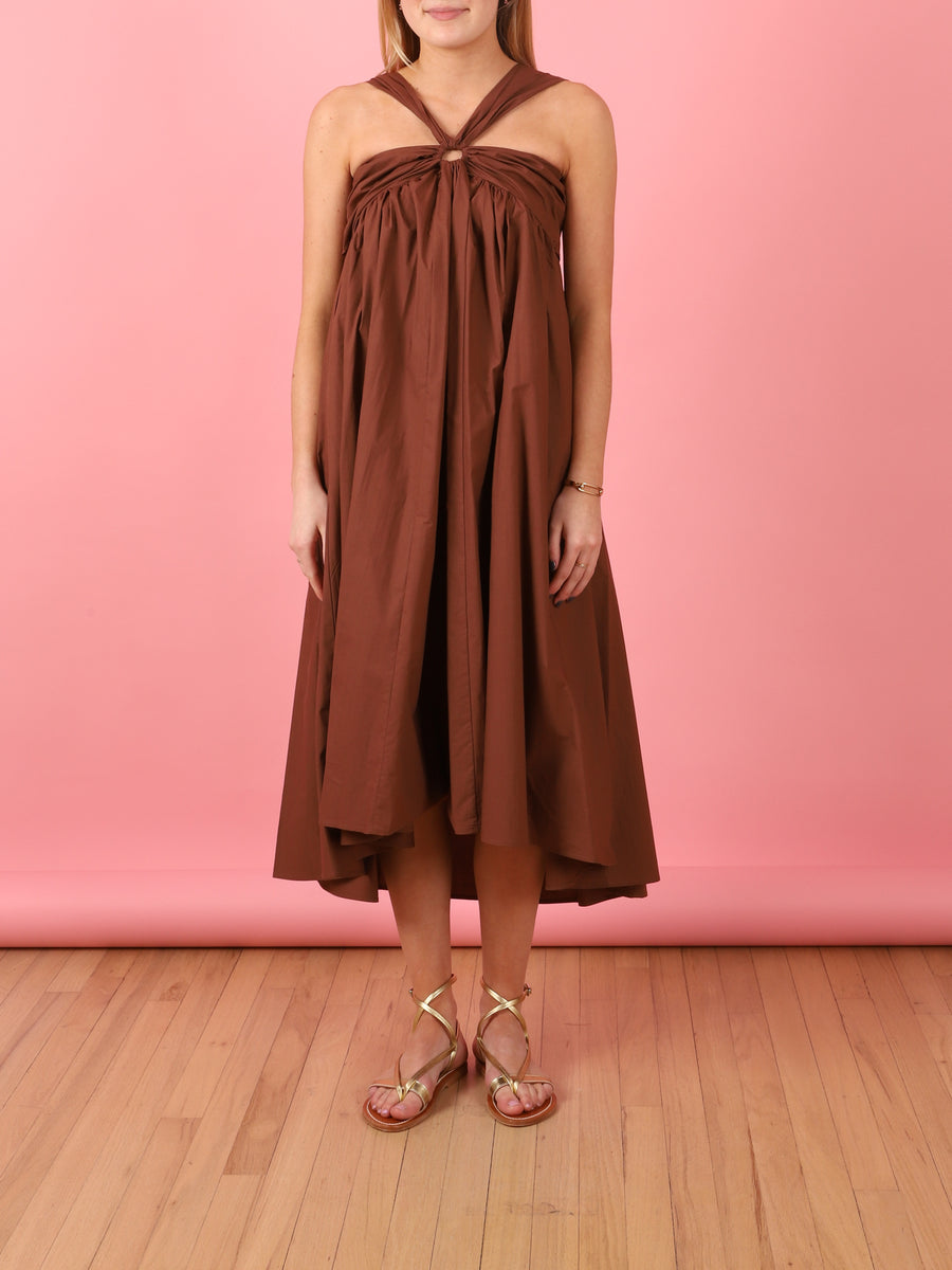 Casper Strappy Dress in Brown