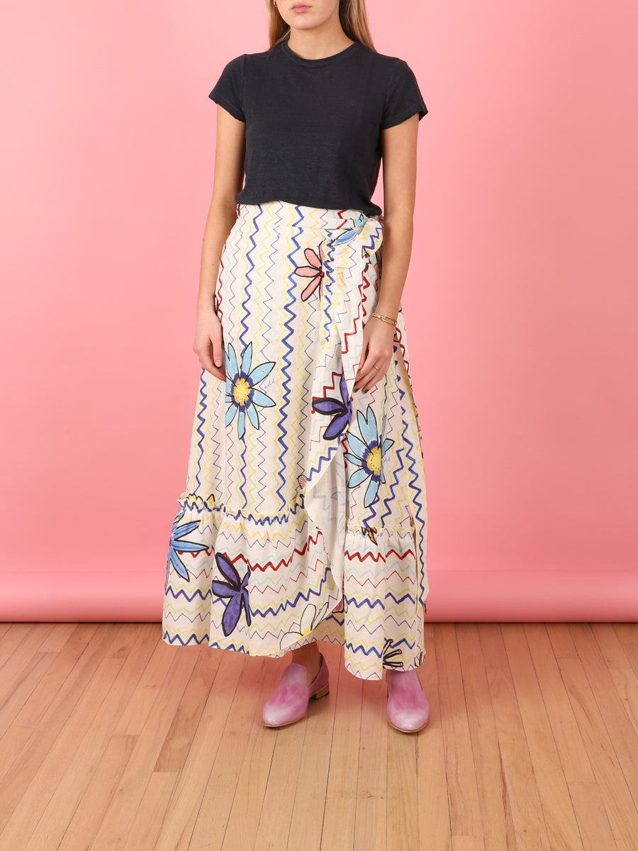 Zig-Zag Flower Wrap Skirt