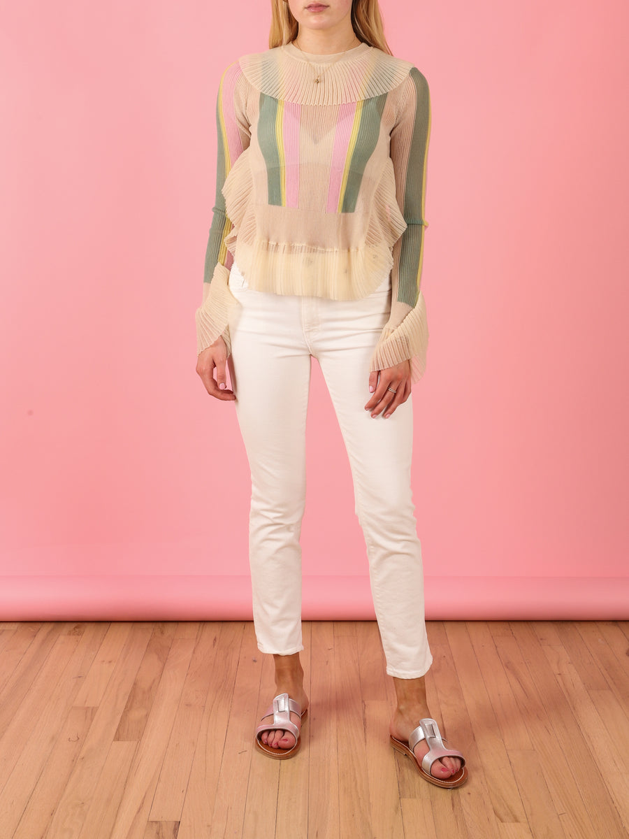 Transparent Top in Ivory & Pink