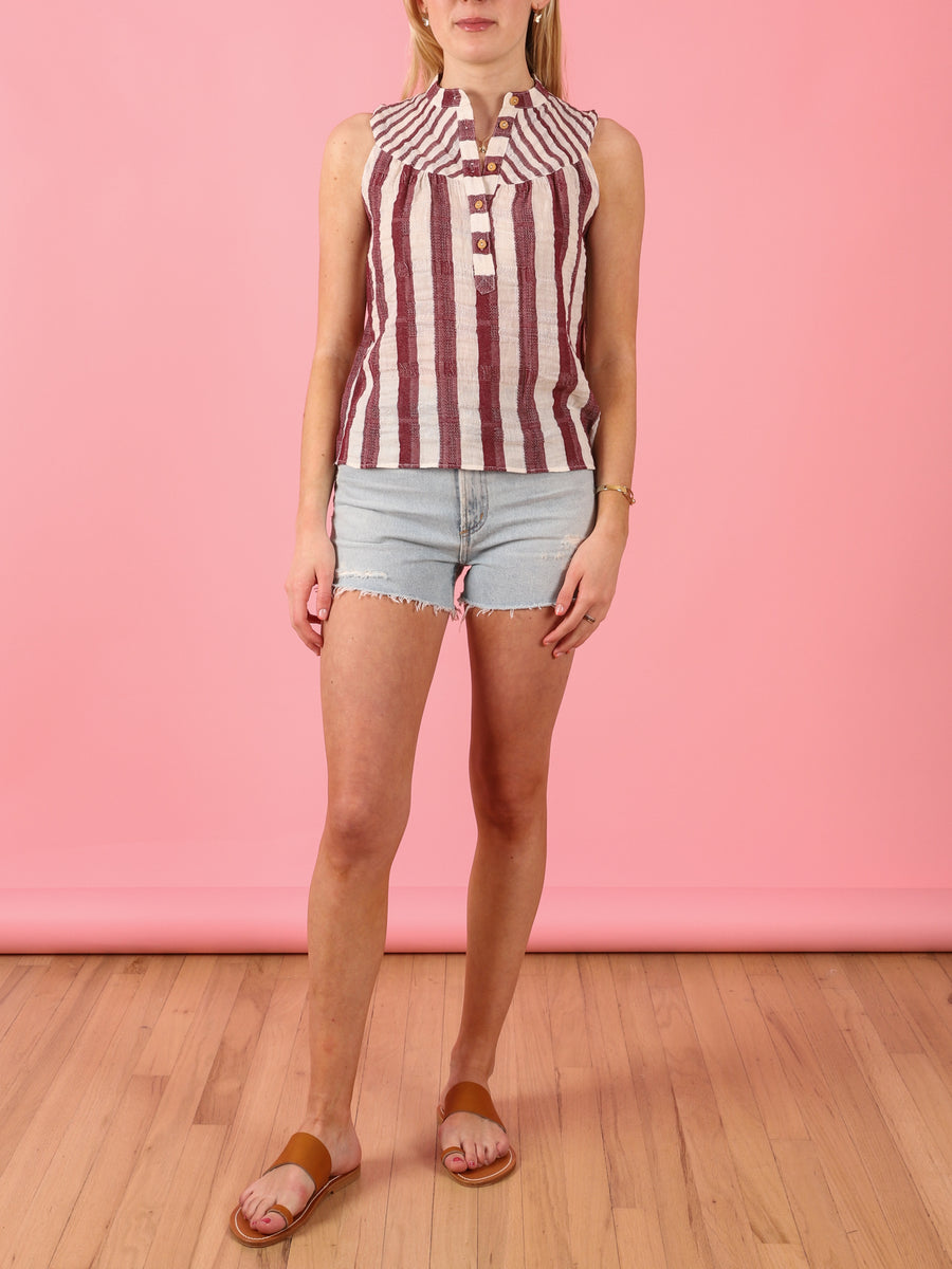 Sleeveless Dittie Top in Burgundy