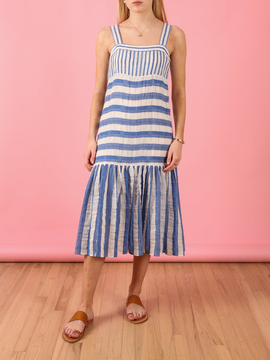Biscay Stripe Dress in Royal