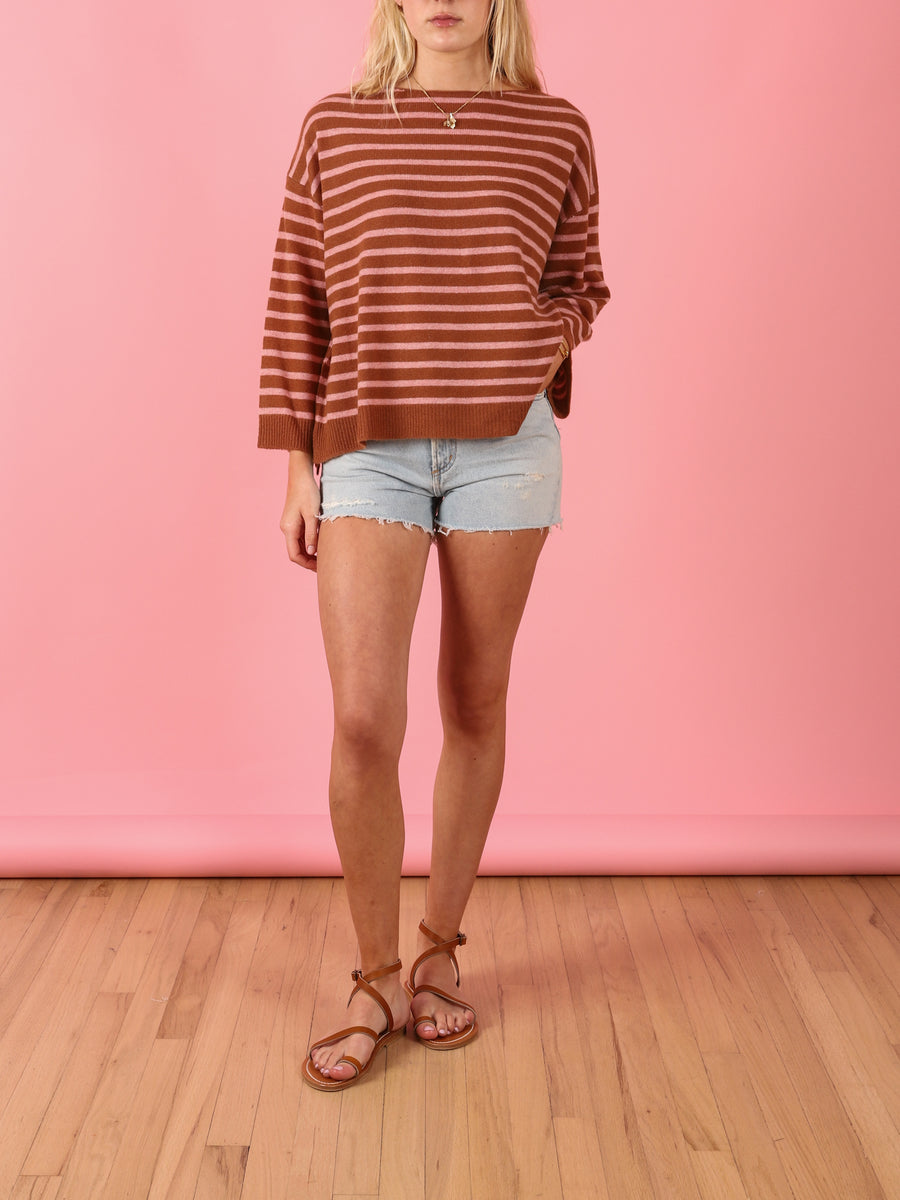 Antonella Stripe Sweater in Pecan