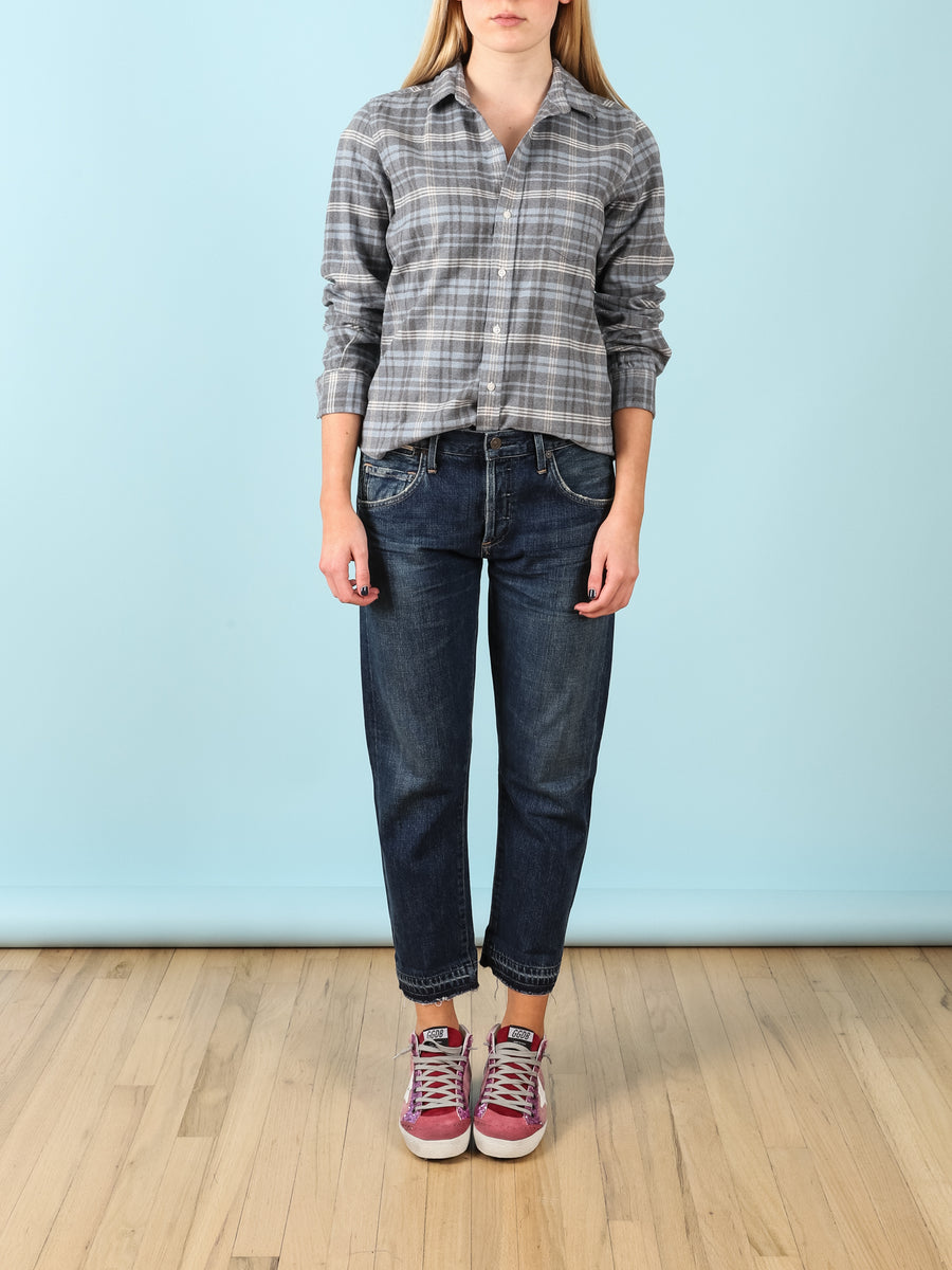 Barry Flannel Shirt in Blue & Grey Plaid