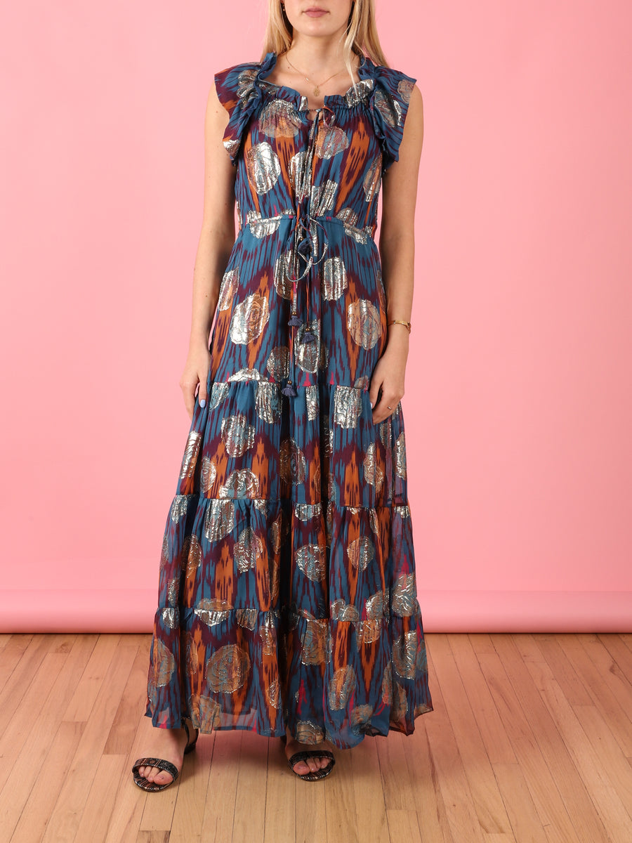Gianna Dress in Blue Ikat