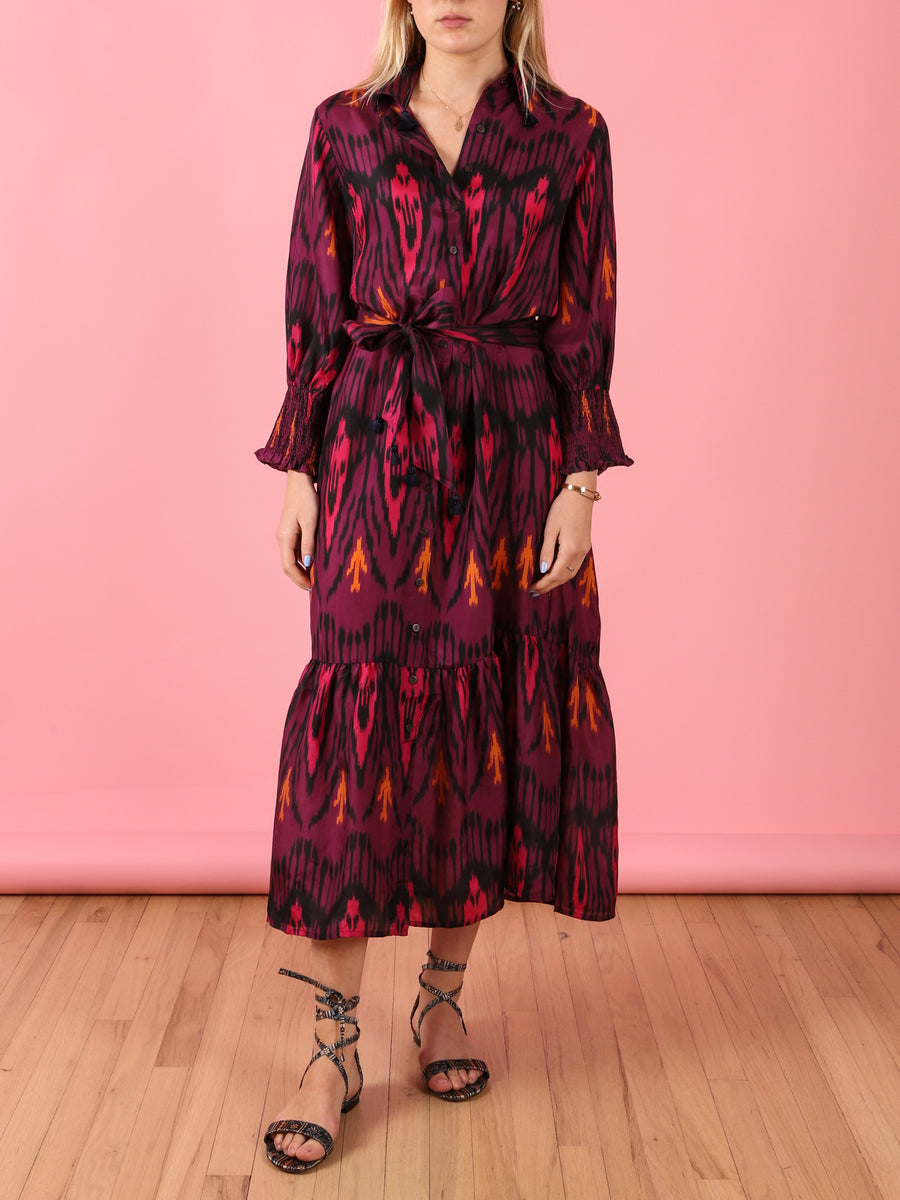 Indiana Dress in Bordeaux Ikat