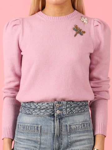 Rosa Confetto Puff Sleeve Petite Crew with Bugs
