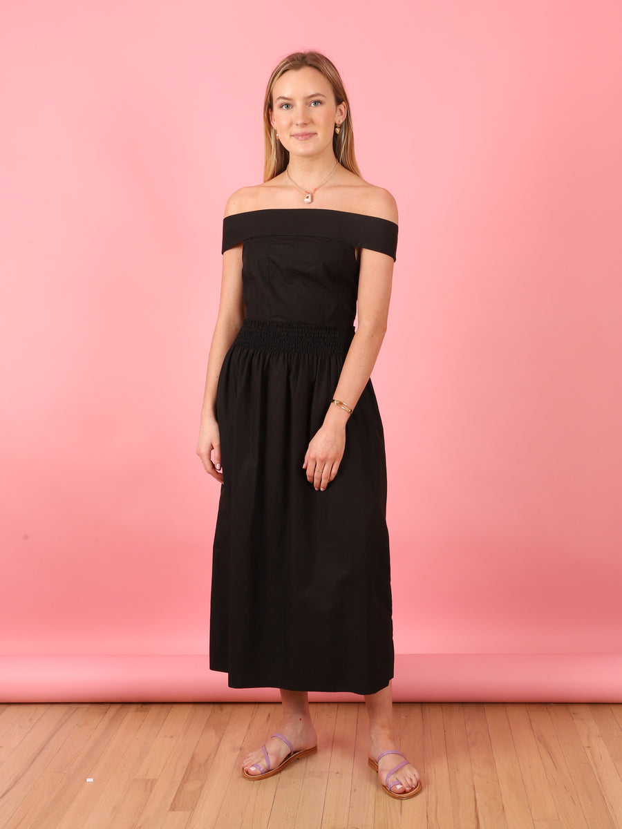 Porcia Poplin Dress in Black