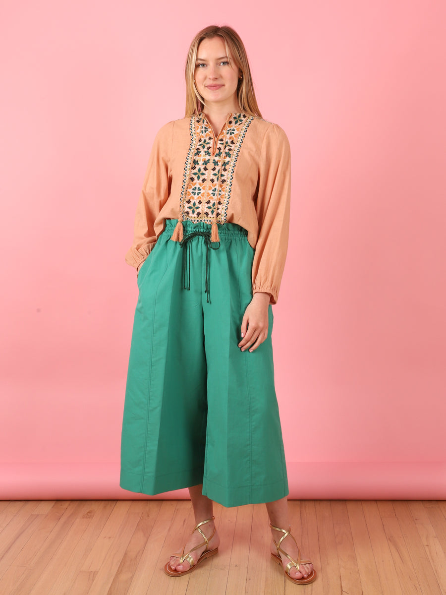 Drawstring Pant in Emerald