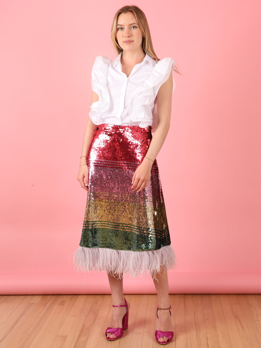 Feather Sequin Skirt