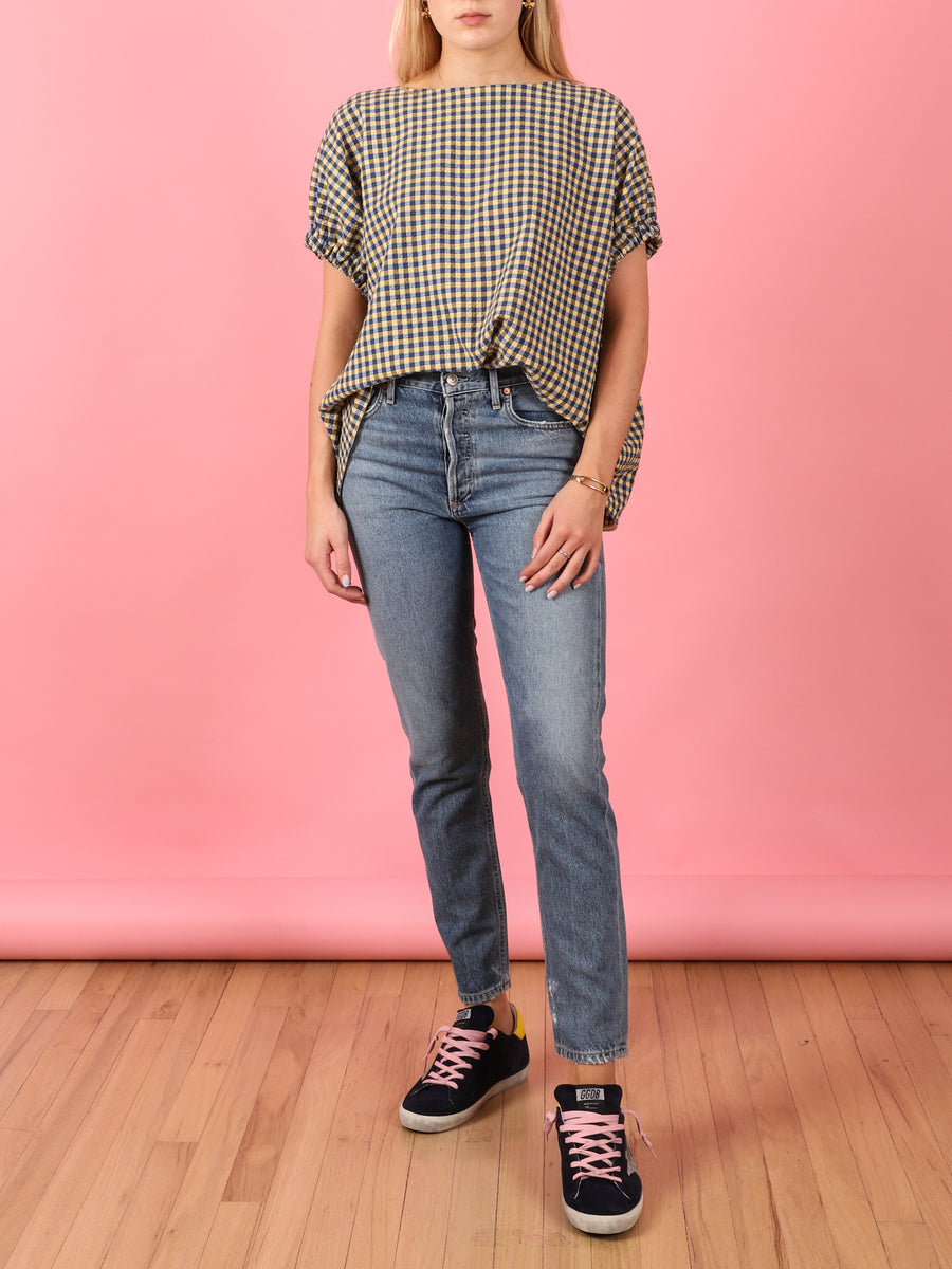 Kloe Top in Blue & Yellow Gingham