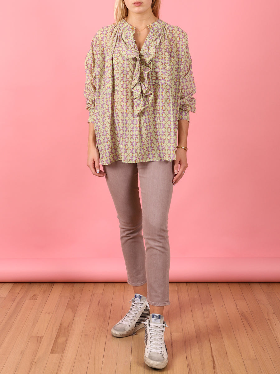 Frill Shirt in Pistachio Bird Print