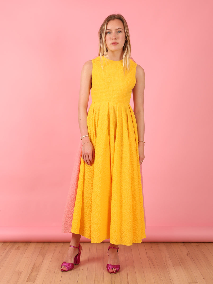 Joan Dress in Yellow & Pink