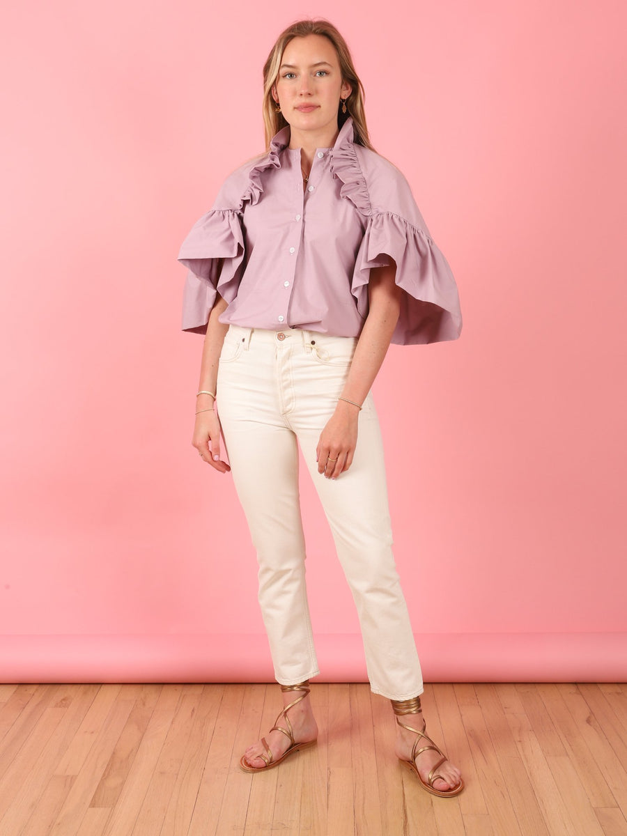 Ruffle Sleeve Lilac Top