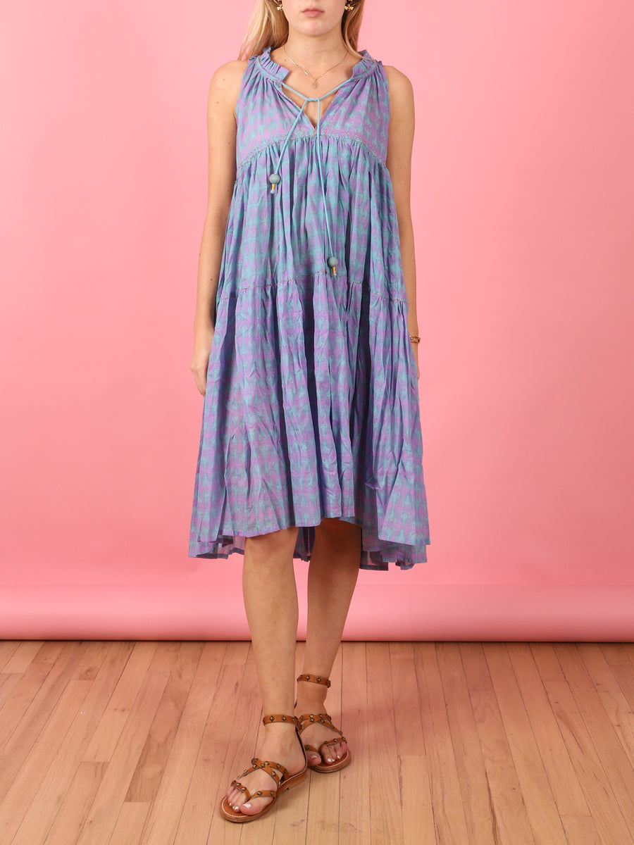 Short to Knee Dress in Aqua Feather Print