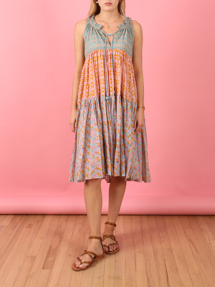 Short To Knee Tiered Dress in Multi