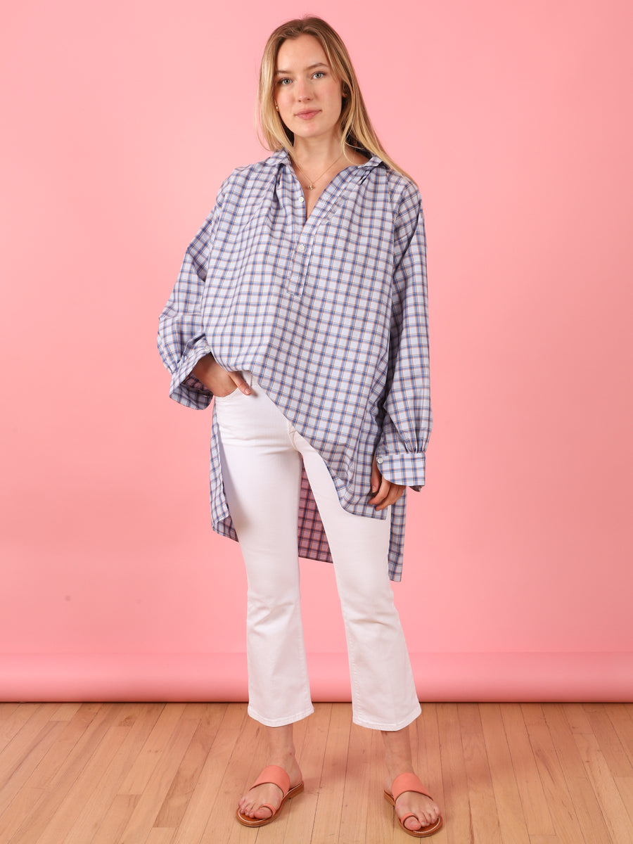 Blue & Orange Check Cross Tunic