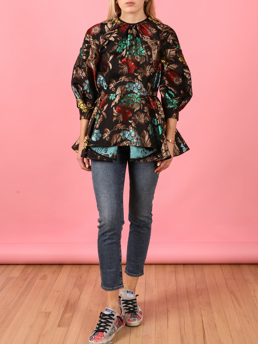 Multi-Colored Barbara Top in Floral Jacquard