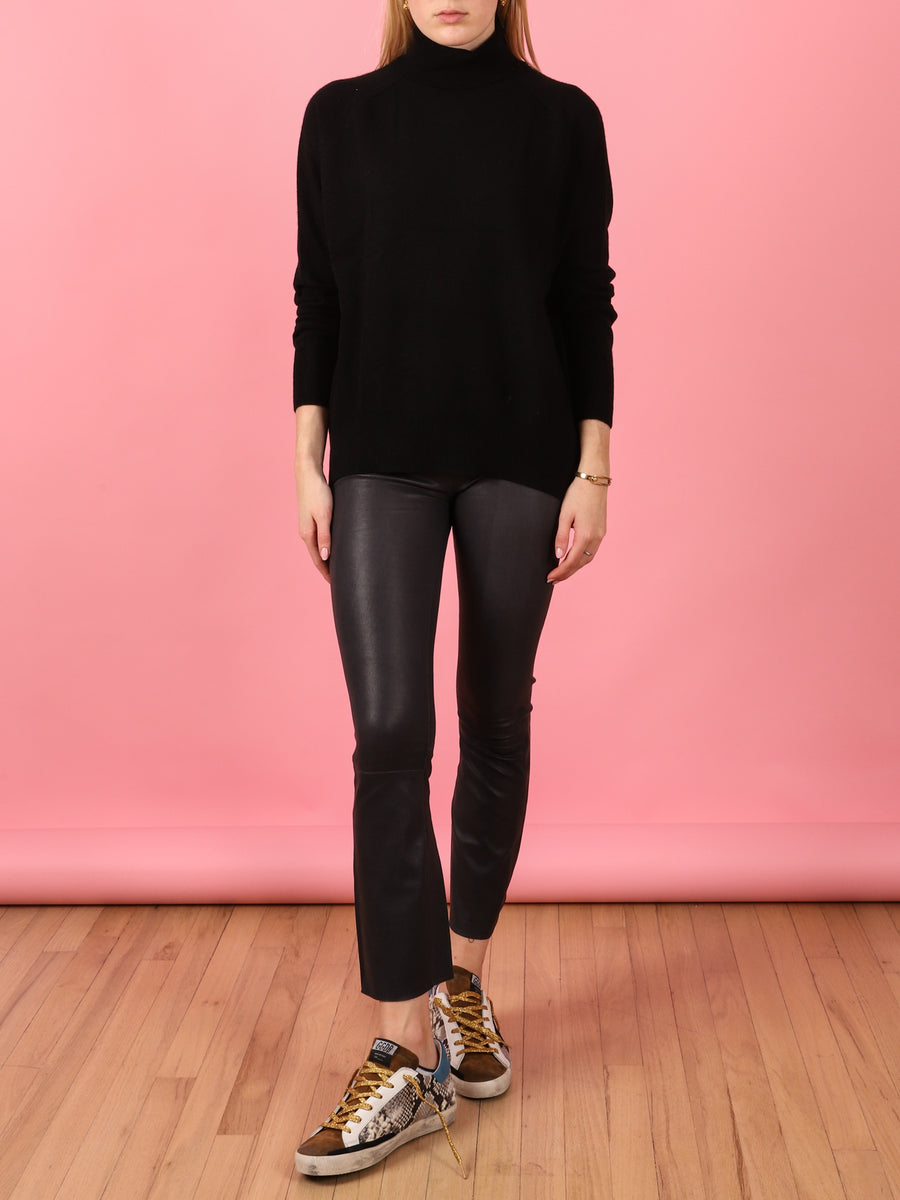 Black Oversize Saddle Roll Sweater