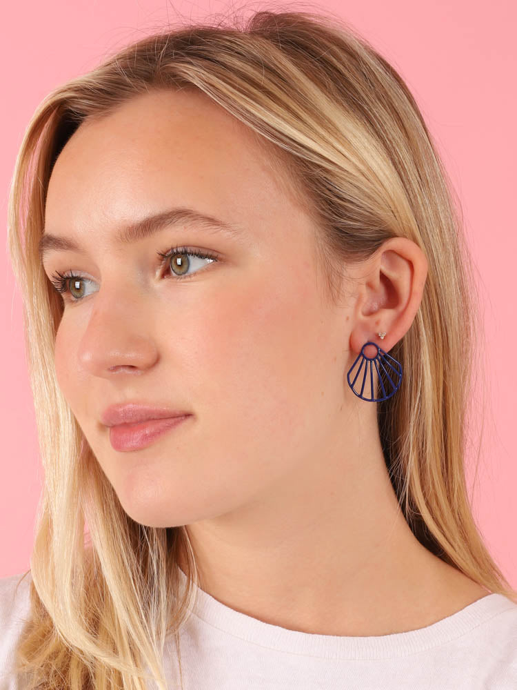 Blue Small Clam Earrings