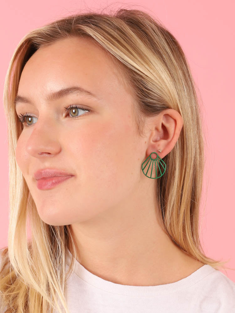 Green Small Clam Earrings
