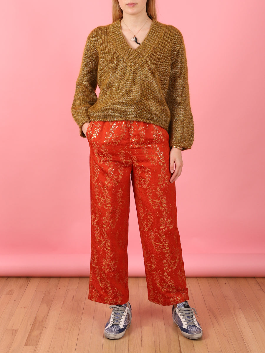 Metallic Jacquard Pant in Orange