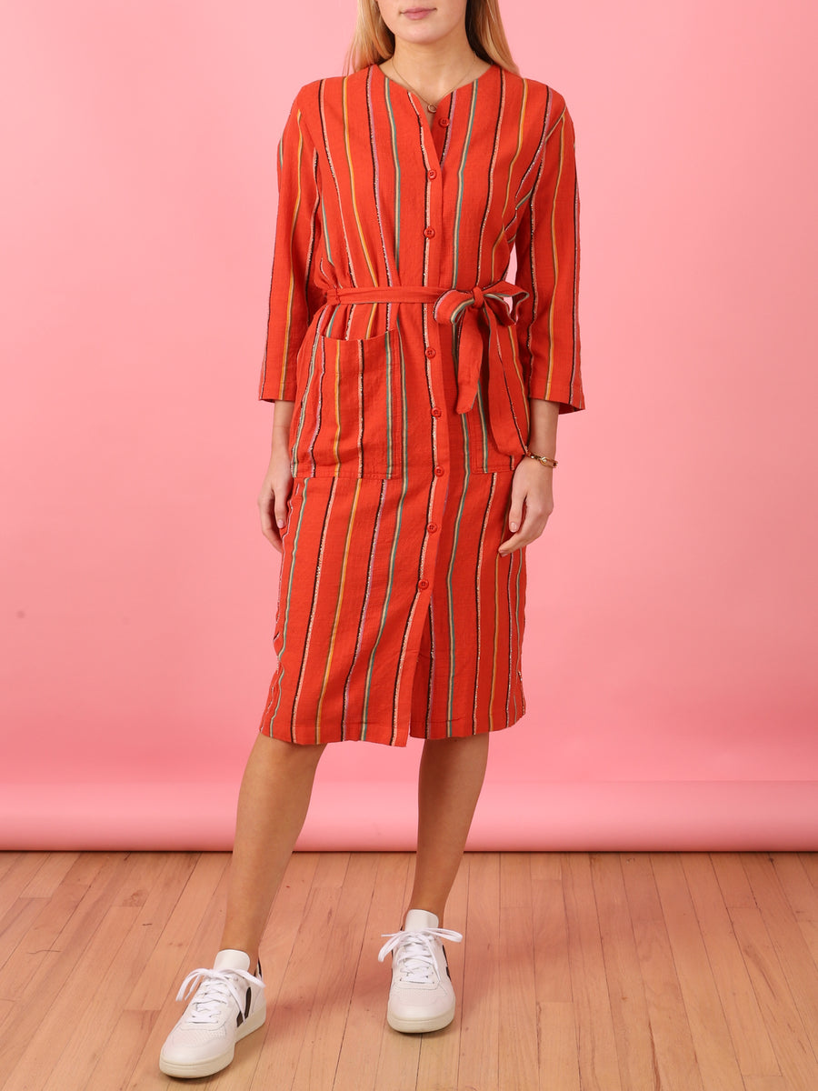 Ari Dress in Rhumba Orange Stripe