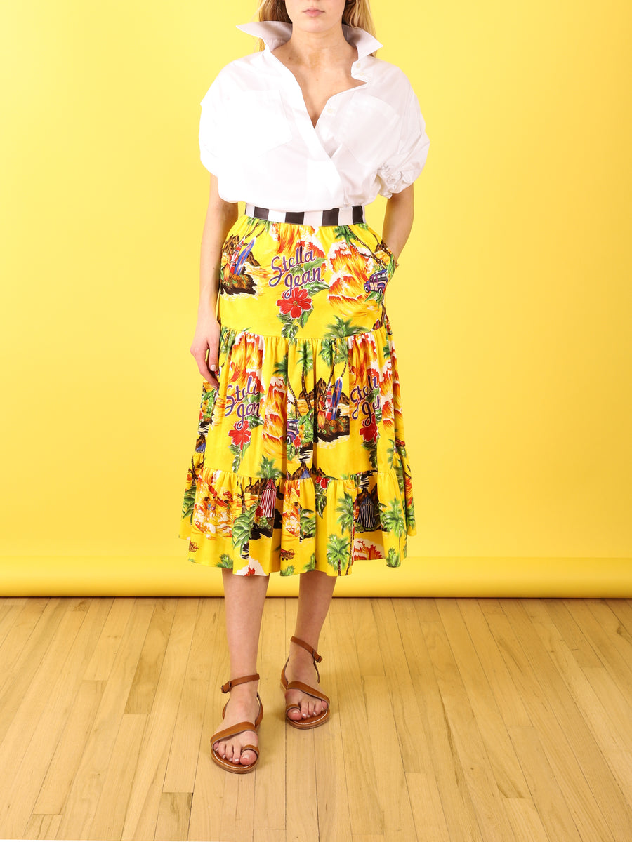 Yellow Hawaii Midi Skirt