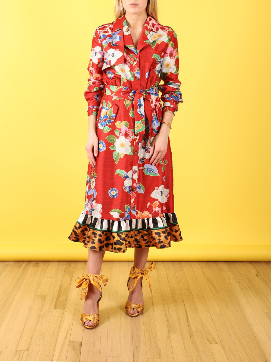 Chinese Floral Print Shirtdress
