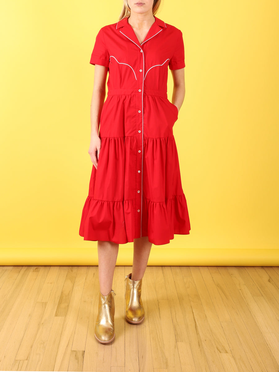 Red Western Shirt Dress