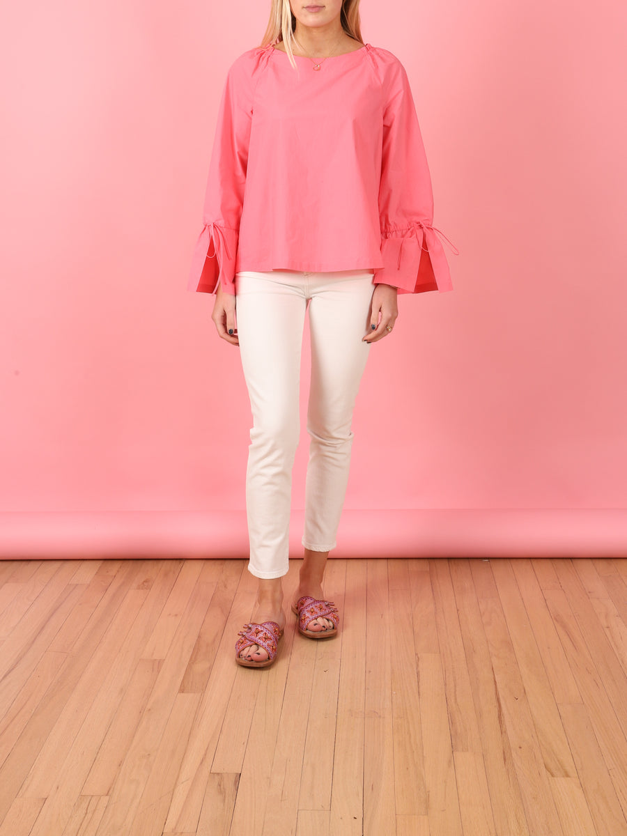 Frill Sleeve Shirt in Pink