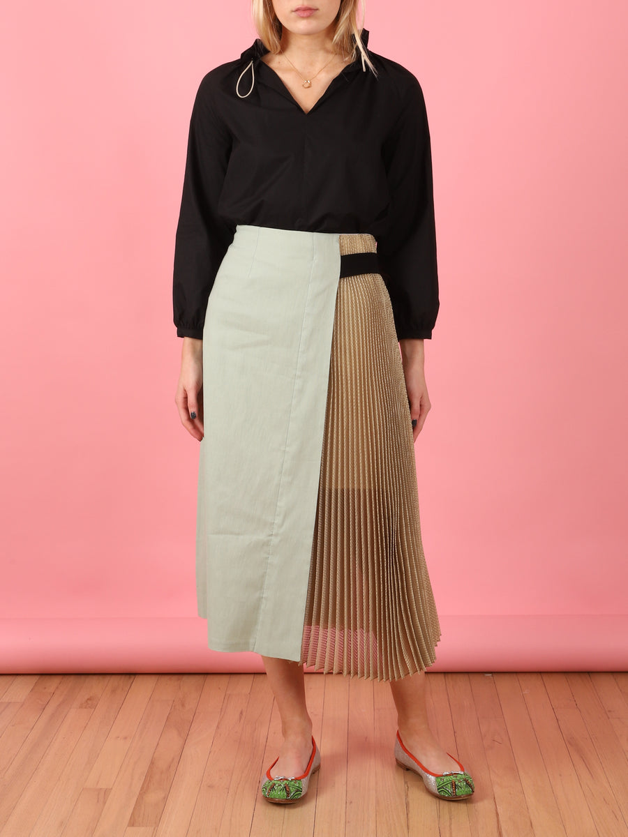 Midi Metallic Pleat Skirt in Mint