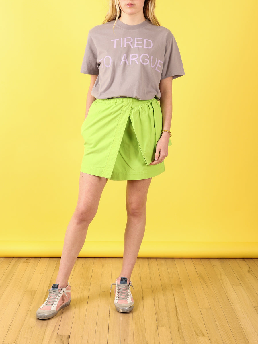 Mini Skirt with Ruffle in Acid Green