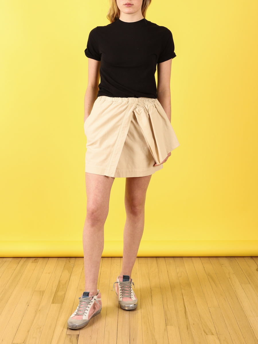 Mini Skirt with Rufffle in Beige