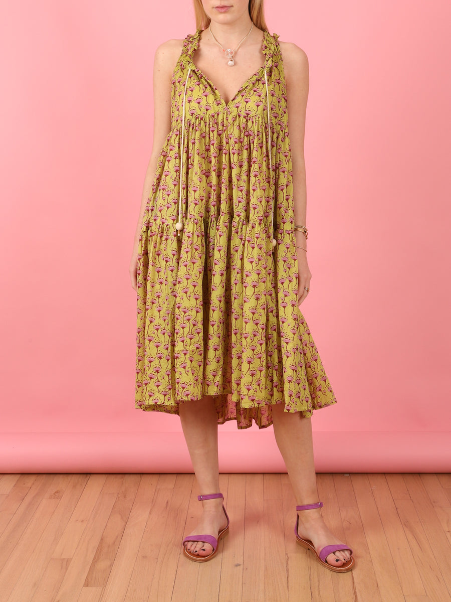 Short to Knee Dress in Pineapple