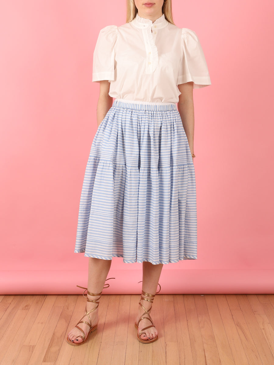 Avadi Pintuck Skirt in Light Blue
