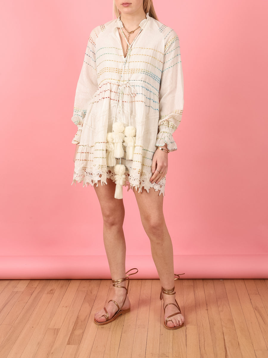 Long Sleeve Tassle Dress in White