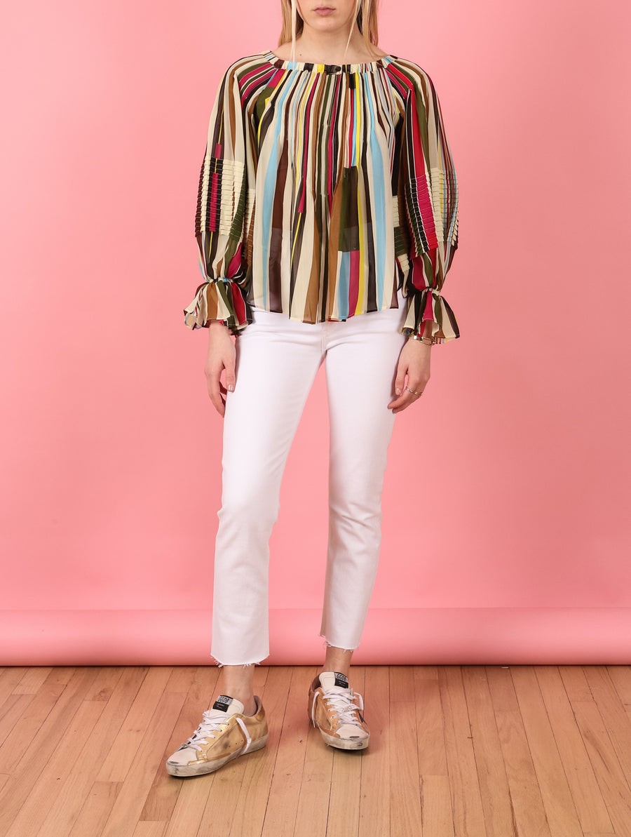Chiffon Multi Stripe Blouse