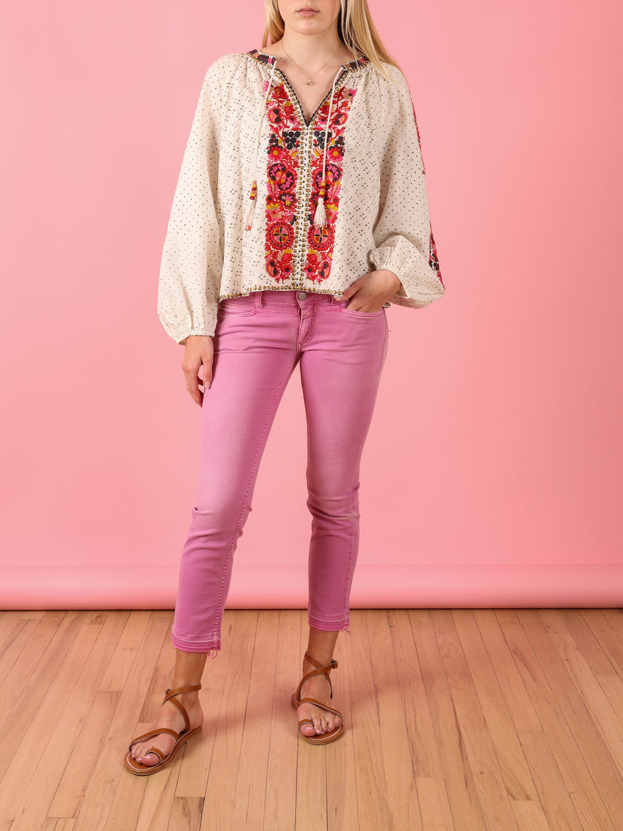 Embroidered Yara Blouse in Cream