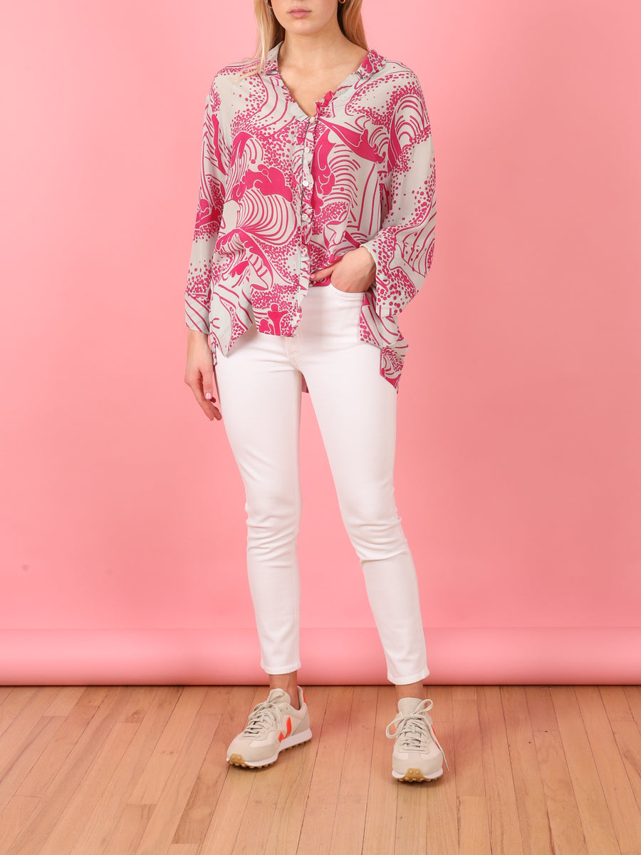 Long Ruffle Blouse in Pink Ocean Print