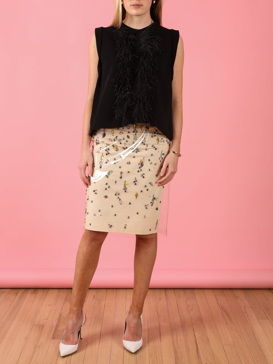 Sleeveless Feather Detail Sweatshirt in Black