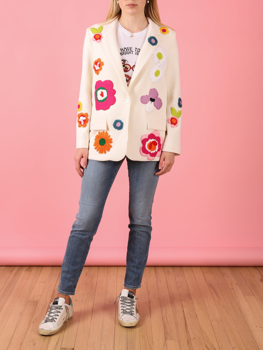 Long Blazer with Floral Patches