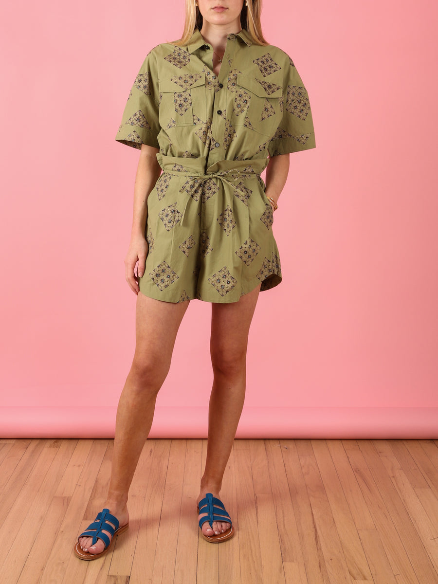 Collared Romper in Paisley