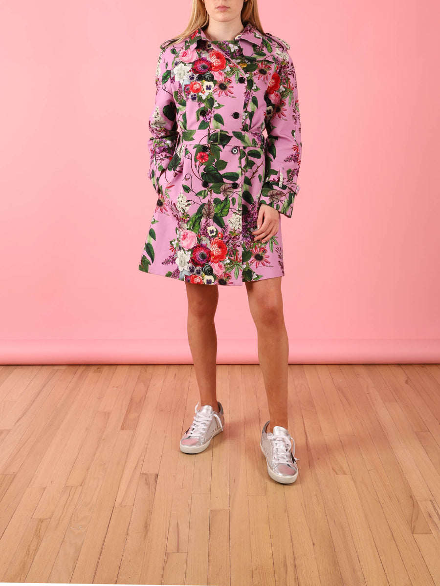 Hamish Trench Coat in Lilac Floral