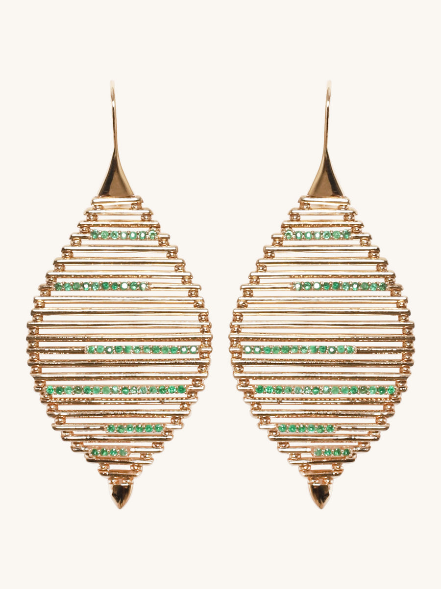 Emerald Grass Seed Earrings
