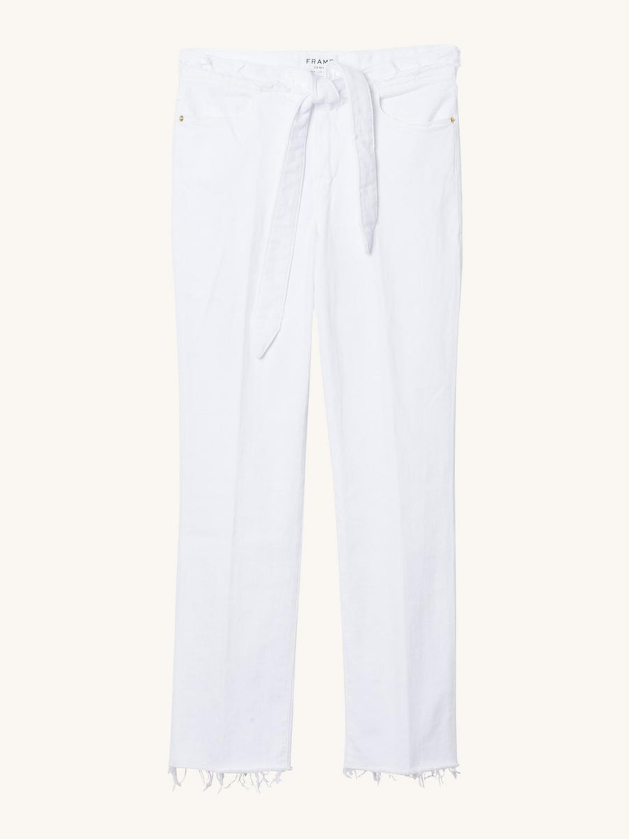 Le High Straight Raw Waist Tie in Blanc