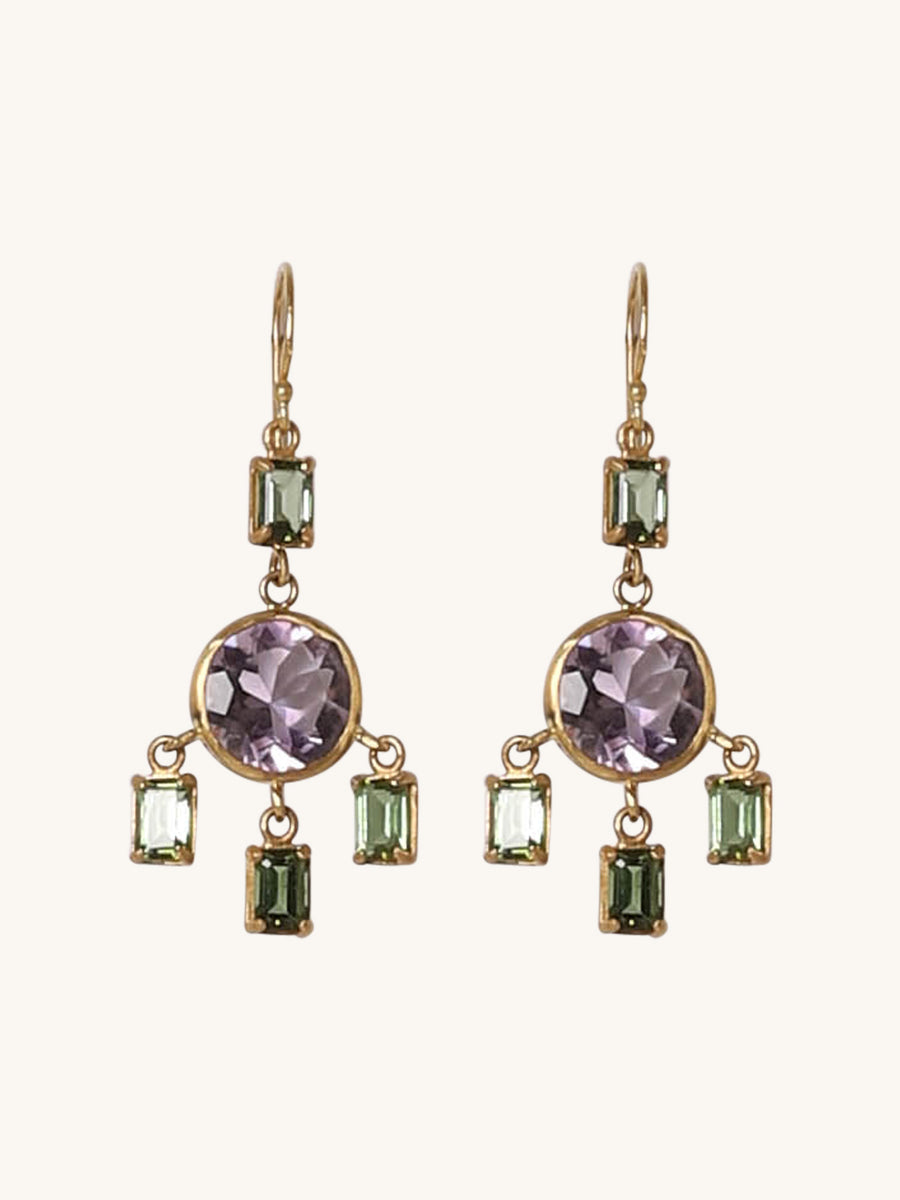 Tourmaline and Amythest Josephine Earrings