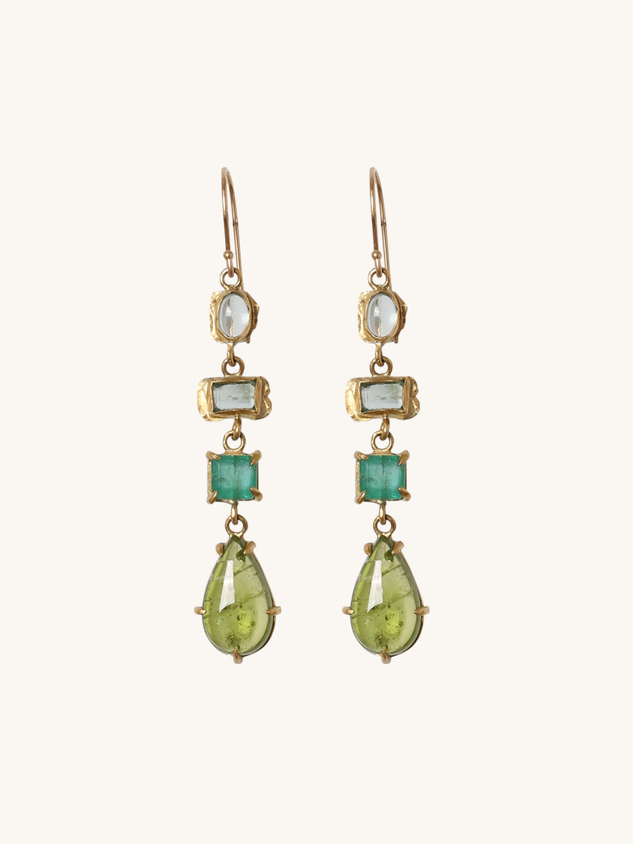 Aquamarine, Emerald & Peridot Drop Earrings